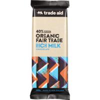 Trade Aid Organic Fair Trade 40% Cocoa Rich Milk Chocolate Block 100g