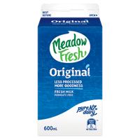 Meadow Fresh Original Fresh Milk Permeate Free 600ml