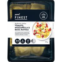 Pams Finest Authentic Italian Tomato Mozzarella & Basil Ravioli 250g