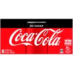 Coca Cola No Sugar Soft Drink Cans 8pk