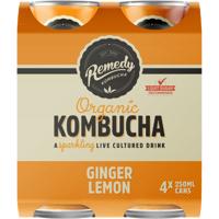 Remedy Organic Kombucha  Ginger Lemon  4 x 250ml