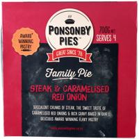 Ponsonby Pies Steak & Caramelised Red Onion Family Pie 700g