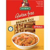 San Remo Gluten Free Brown Rice Pasta Spirals 250g