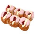 Bakery Iced Coconut Mock Creme Raspberry Buns 6ea