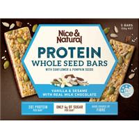 Nice & Natural Vanilla  Sesame & Milk Chocolate Whole Seed Protein Bars 5pk