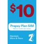 2 Degrees $10 Monthly Prepay Plan SIM