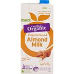 Macro Organic Almond Milk Unsweetened 1L