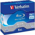 Verbatim BD-R Dual Layer 50GB JC 6x Blu-ray Recordable Media - 5 Pack DV11619