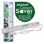 Jackson 6 way Energy Saving Power Board with Surge Overload protection incorporates 1 power socket 1 master socket and 4 slave sockets 1m power cord