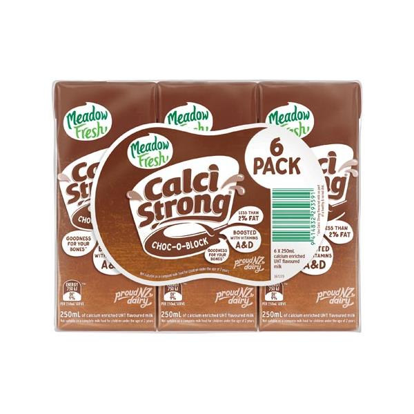Meadow Fresh Calci Strong Flavoured Milk Chocolate Uht 1500ml (250ml x 6pk)