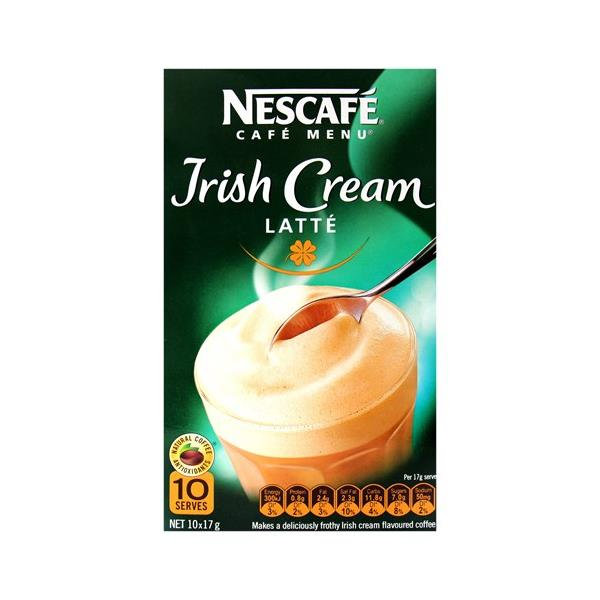 Nescafe Cafe Menu Coffee Mix Irish Cream Latte 170g box 10 sachets