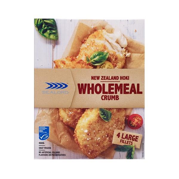 Sealord Simply Crafted Fish Fillets Hoki In Wholemeal Crumbs 480g