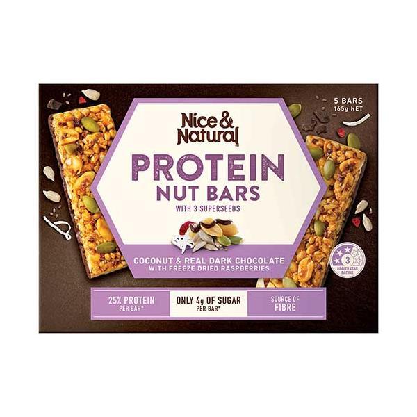 Nice & Natural Nut Bar Coconut Choc & Raspberry 165g (33g x 5pk)