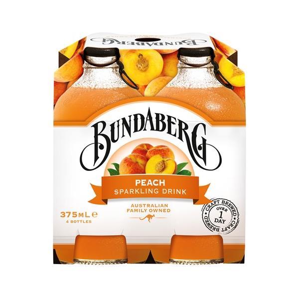 Bundaberg Soft Drink Sparkling Peach 1500ml (375ml x 4pk)