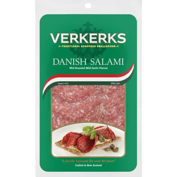 Verkerks Salami Sliced Danish prepacked 100g