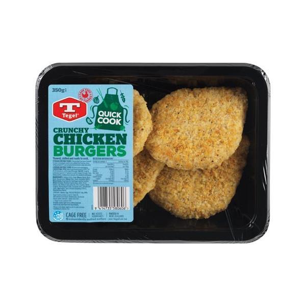 Tegel Quick Cook Chicken Burgers Crunchy 350g (4pk)