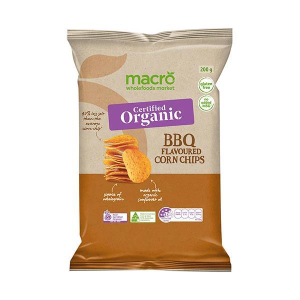 Macro Organic Corn Chips Bbq 200g
