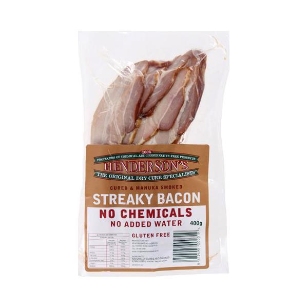 Hendersons Streaky Bacon 400g