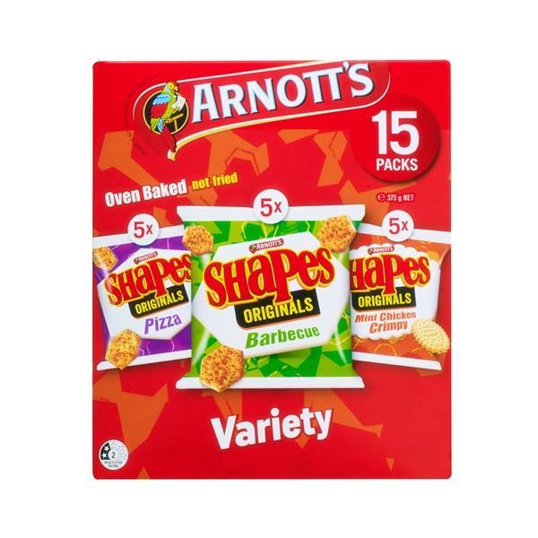 Arnott's Shapes Sensations Crackers Multipack Variety 375g (15pk)