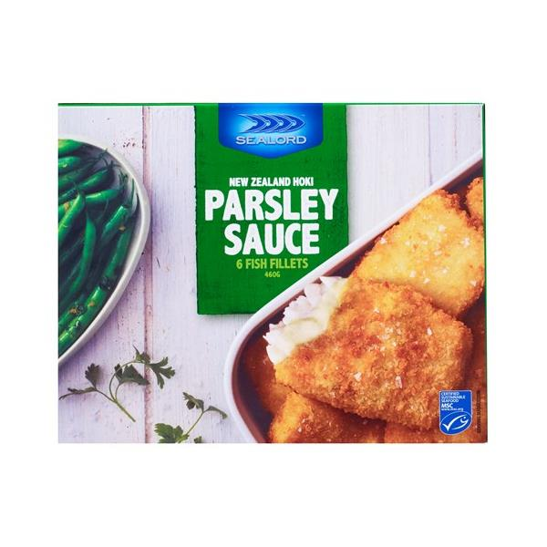 Sealord Fish Fillets Hoki Crumbed In Parsley Sauce 460g