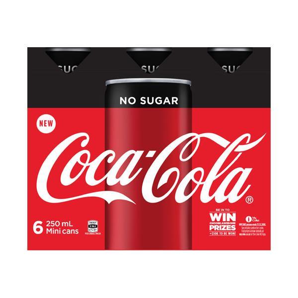 Coca Cola Soft Drink No Sugar 1500ml (250ml x 6pk)