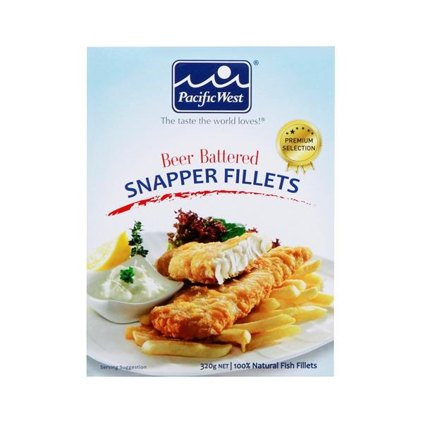 Pacific West Fish Fillets Snapper In Beer Batter frozen 320g