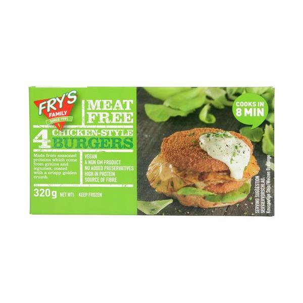 Frys Vegetarian Burgers Meat Free Chicken Style 320g (80g x 4pk)