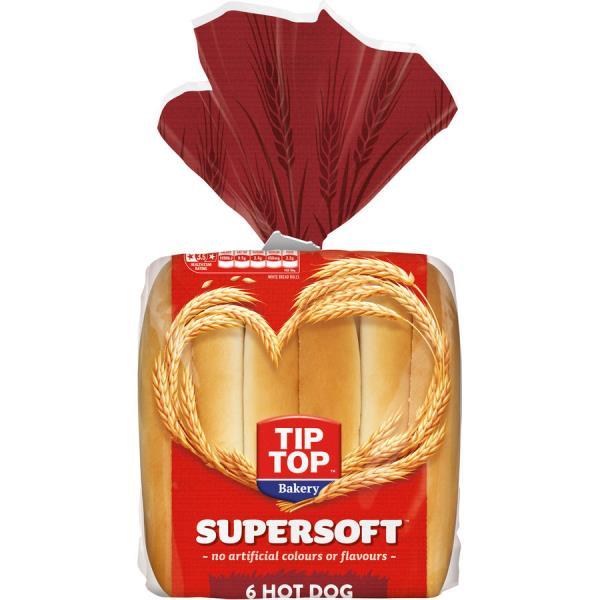 Tip Top Super Soft Hot Dog Rolls 450g (6pk)