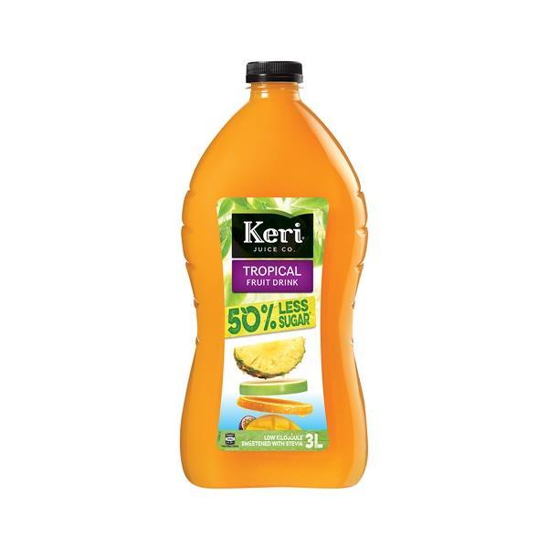 Keri 50% Less Sugar Fruit Drink Tropical 3l