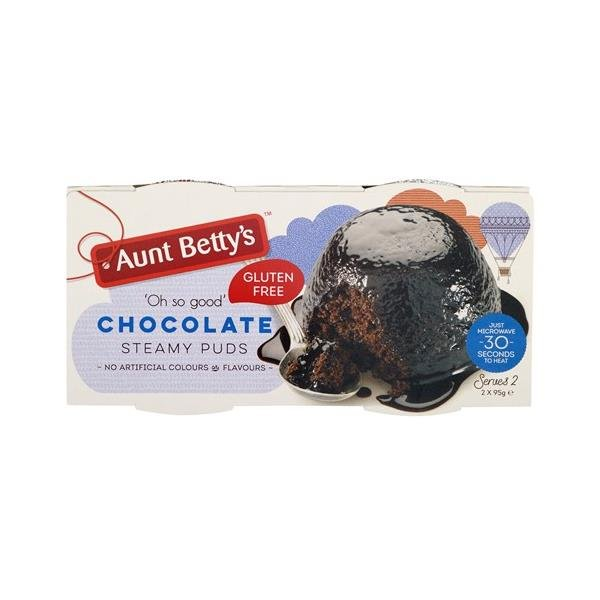 Aunt Betty's Gluten Free Steamed Pudding Chocolate 190g (95g x 2pk)