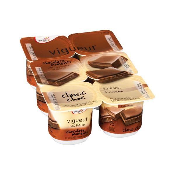 Yoplait Vigueur Dairy Food 6pk Classic Choc 125g pottles 750g