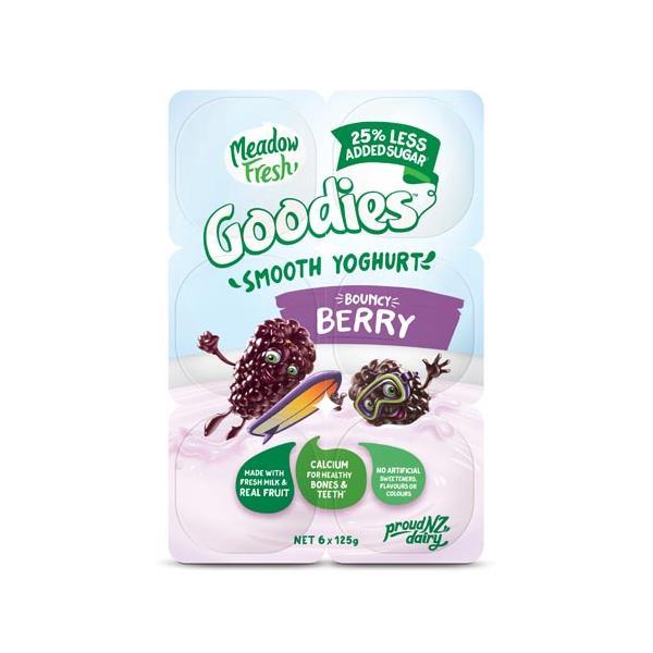 Meadow Fresh Goodies Yoghurt 6pk Bouncy Berry 125g pottles 750g