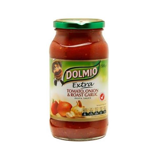 Dolmio Extra Pasta Sauce Tomato, Onion & Roast Garlic jar 500g