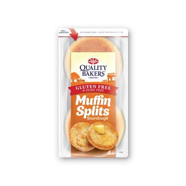 Quality Bakers Gluten Free Dairy Free Sourdough Muffin Splits 4pk 300g