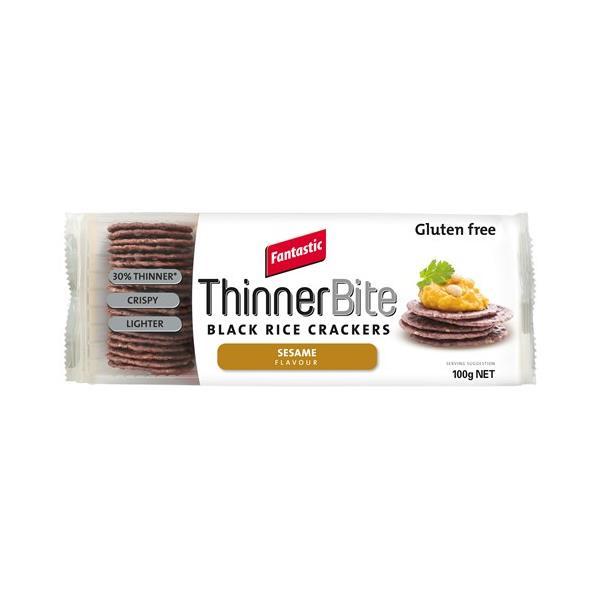 Fantastic Thinner Bites Rice Crackers Black Rice & Sesame 100g