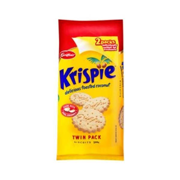 Griffins Krispies Plain Biscuits Coconut twin pack 2 x 250g pks