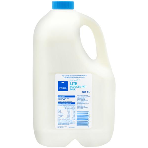 Value Lite Milk 3l