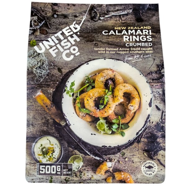 United Fish Co Crumbed Calamari Rings 500g