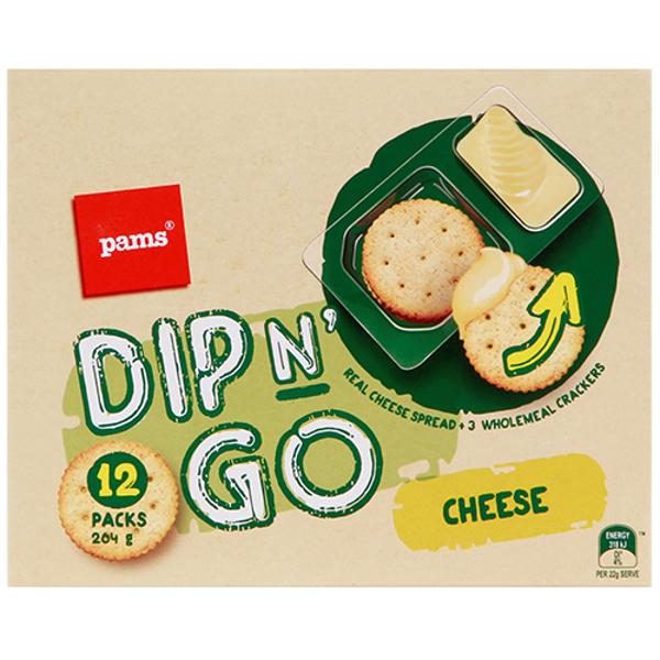 Pams Dip N Go Cheese Spread & Crackers 12pk