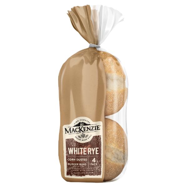 MacKenzie White Rye Corn Dusted Burger Buns 400g