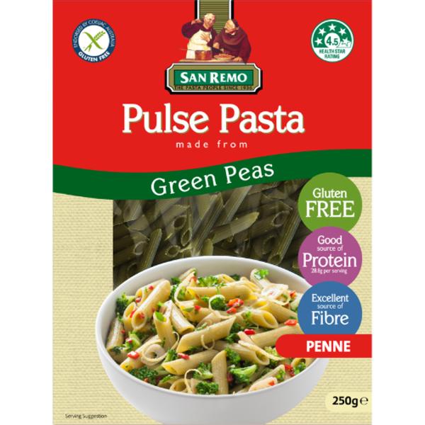 San Remo Green Peas Penne Pulse Pasta 250g