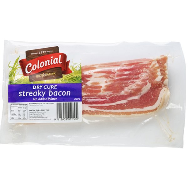 Colonial Dry Cured Streaky Bacon 200g