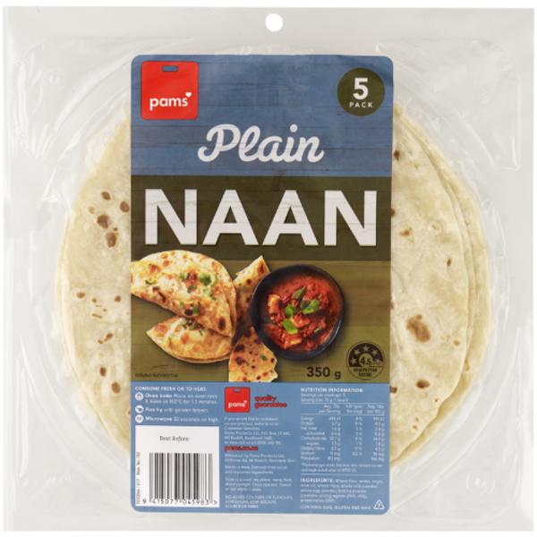Pams Naan Bread 5pk