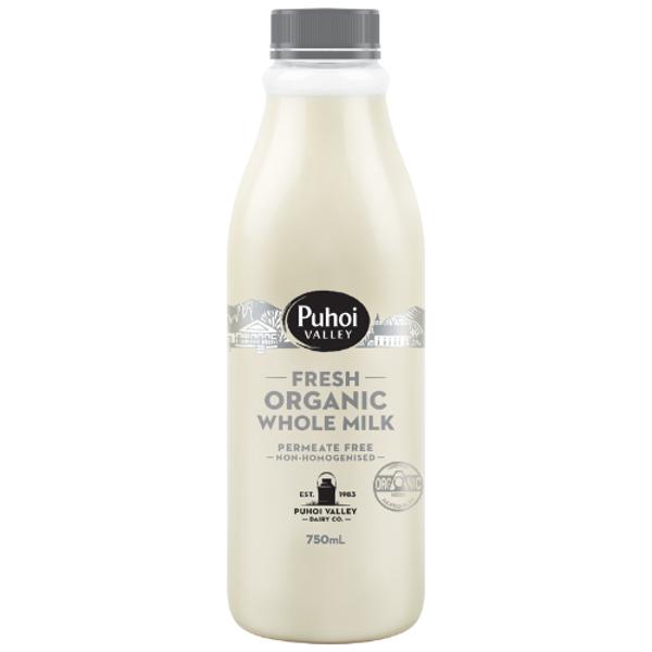 Puhoi Valley Fresh Organic Whole Milk 750ml