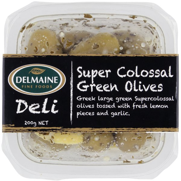 Delmaine Supercolossal Green Olives With Lemon & Garlic 200g