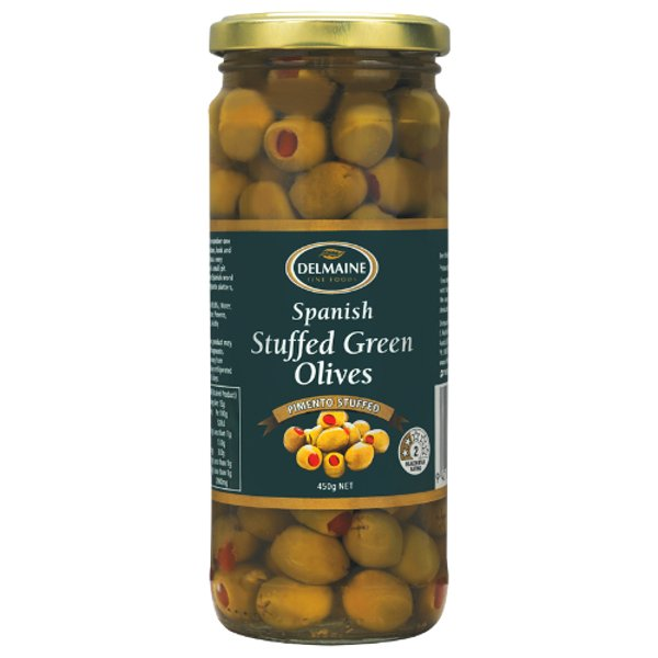 Delmaine Spanish Stuffed Green Olives 450g