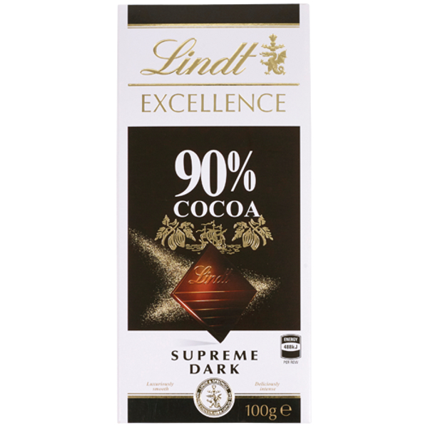 Lindt Excellence 90% Cocoa Supreme Dark Chocolate Block 100g