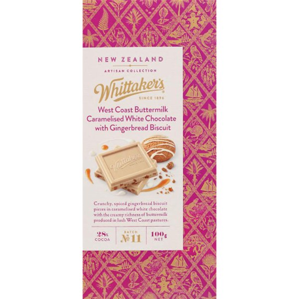 Whittaker's West Coast Buttermilk Caramelised White Chocolate & Gingerbread Biscuit Chocolate Bar 100g