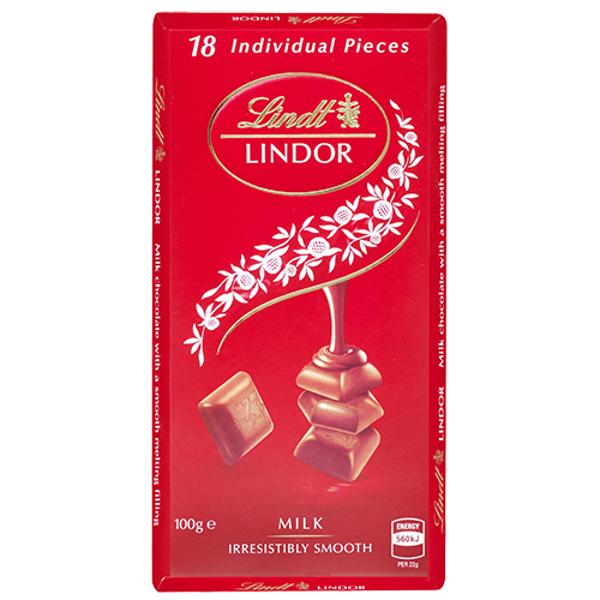 Lindt Lindor Milk Chocolate Block 100g