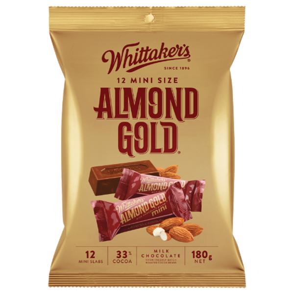 Whittaker's Mini Size Almond Gold 12 Chocolate Bars 180g